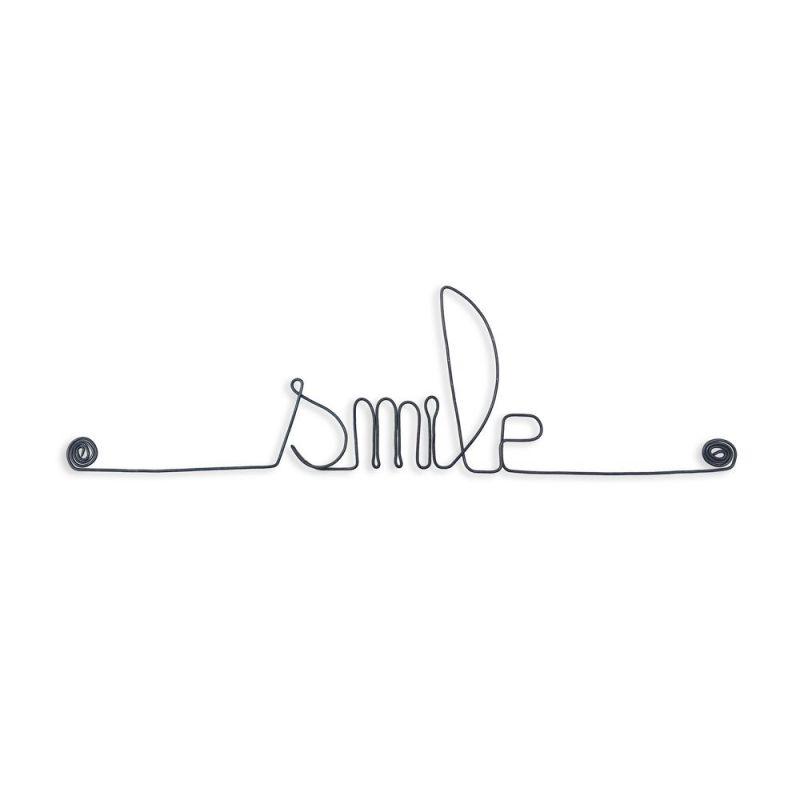 """Message simple en fil de fer """" Smile """" - à punaiser - Bijoux de mur"""