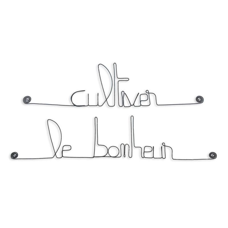 """Message simple en fil de fer """" Cultiver le bonheur """" - à punaiser - Bijoux de mur"""