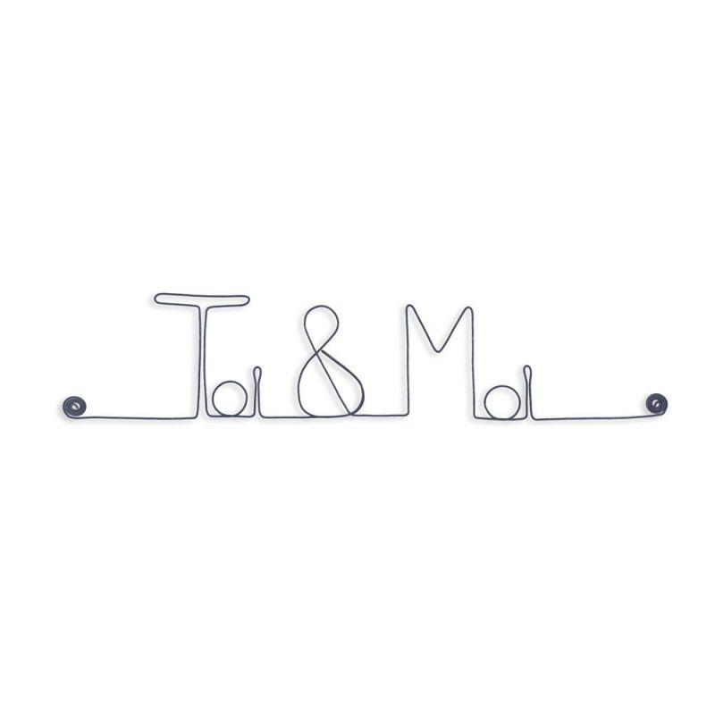 """Message et forme en fil de fer """" Toi & Moi """" - à punaiser - Bijoux de mur"""