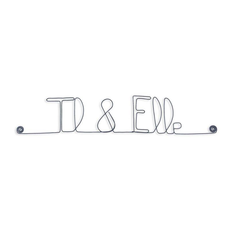 """Message et forme en fil de fer """" Il & Elle """" - à punaiser - Bijoux de mur"""