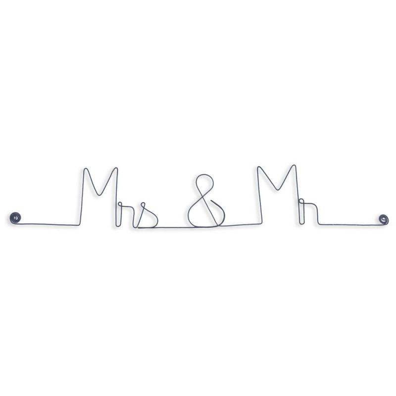 """Message et forme en fil de fer """" Mrs & Mr """" - à punaiser - Bijoux de mur"""