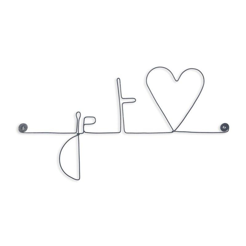 """Message et forme en fil de fer """" Je t'aime (aime en forme de cœur) """" - à punaiser - Bijoux de mur"""
