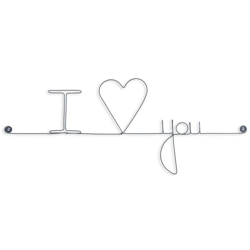 """Message et forme en fil de fer """"I love you (love en forme de cœur) """" - à punaiser - Bijoux de mur"""