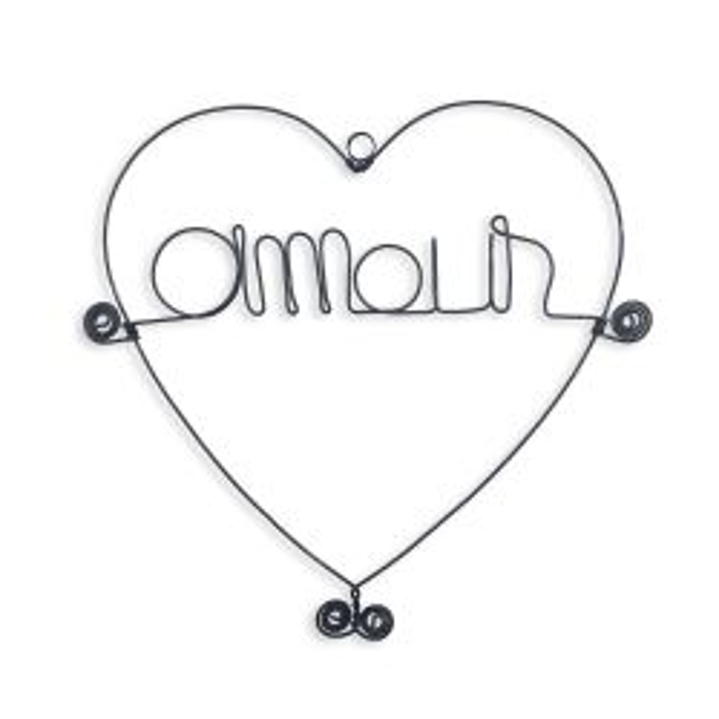 """Message et forme en fil de fer """" Amour """" (avec cadre coeur) - environ 20 x 20 cm - à punaiser - Bijoux de mur"""