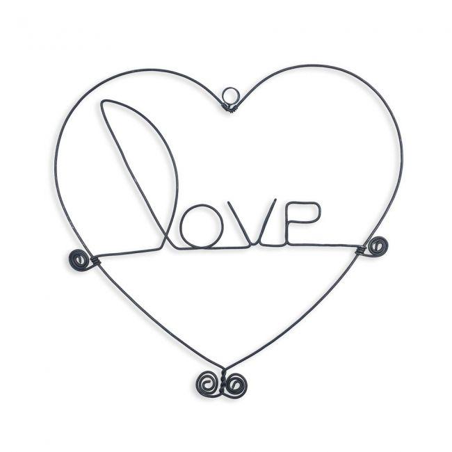 """Message et forme en fil de fer """" Love """" (avec cadre coeur) - environ 20 x 20 cm - à punaiser - Bijoux de mur"""
