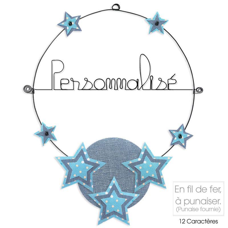 Message coloré personnalisable en fil de fer - 1 ligne - Etoile - Bleu - environ 37 x 47 cm - Bijoux de mur