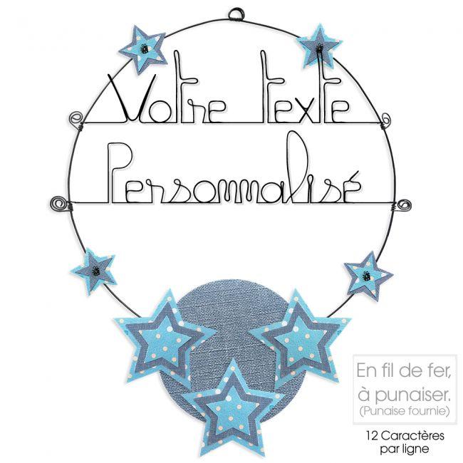 Message coloré personnalisable en fil de fer - 2 lignes - Étoile - Bleu - environ 37 x 47 cm - Bijoux de mur