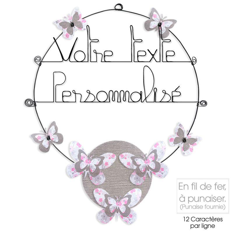 Message coloré personnalisable en fil de fer - 2 lignes - Papillon - Rose - environ 37 x 46 cm - Bijoux de mur