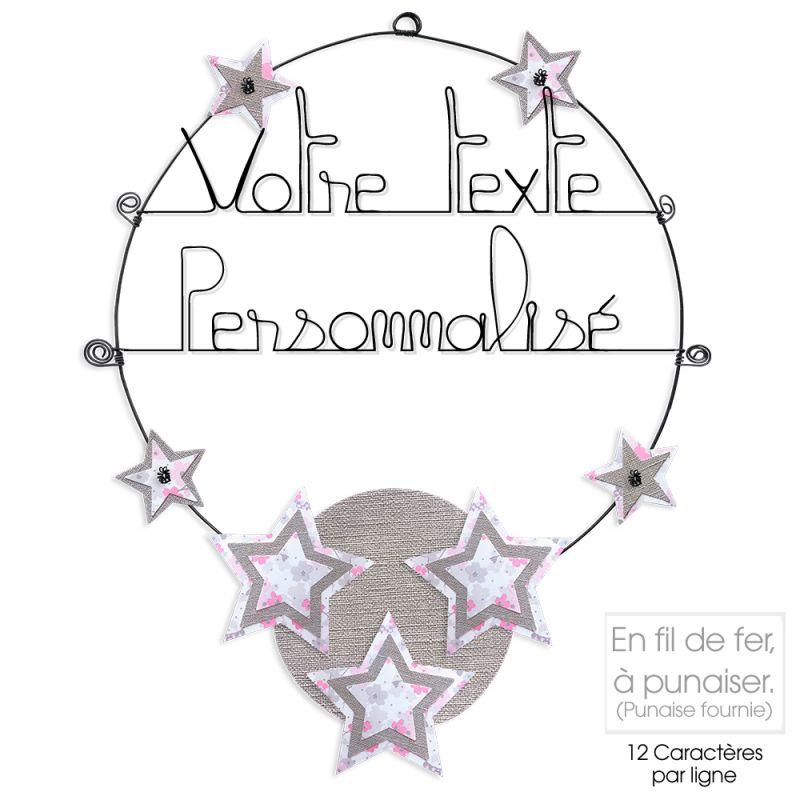 Message coloré personnalisable en fil de fer - 2 lignes - Étoile - Rose - environ 37 x 47 cm - Bijoux de mur