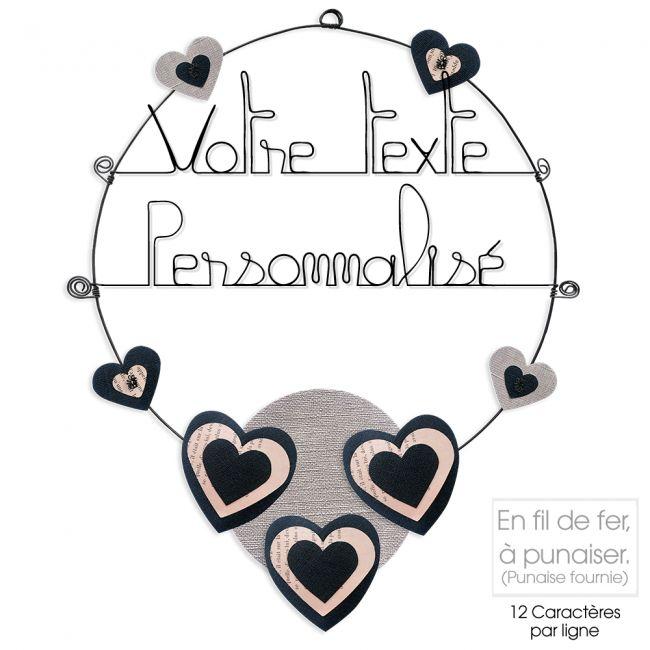 Message coloré personnalisable en fil de fer - 2 lignes - Coeur - Noir - environ 37 x 47 cm - Bijoux de mur