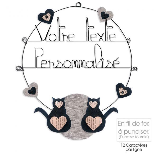 Message coloré personnalisable en fil de fer - 2 lignes - Chat - Noir - environ 37 x 44 cm - Bijoux de mur