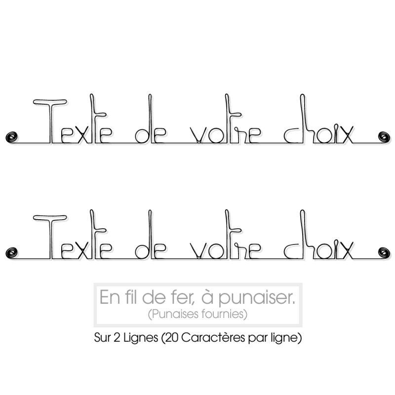 """Message simple """" Personnalisable 2 lignes """" en fil de fer - à punaiser - Bijoux de mur"""