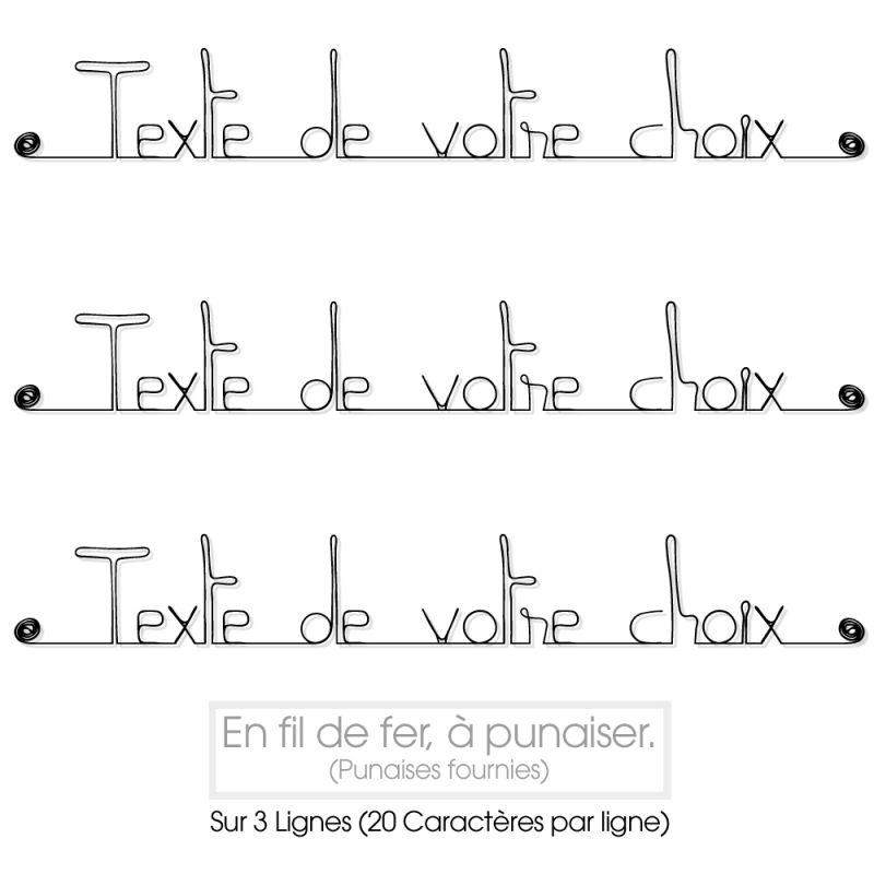 """Message simple """" Personnalisable 3 lignes """" en fil de fer - à punaiser - Bijoux de mur"""