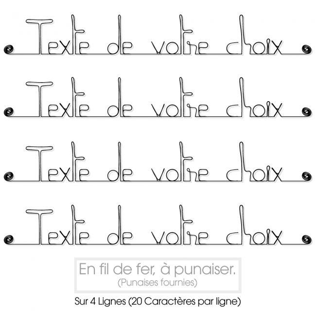 """Message simple """" Personnalisable 4 lignes """" en fil de fer - à punaiser - Bijoux de mur"""