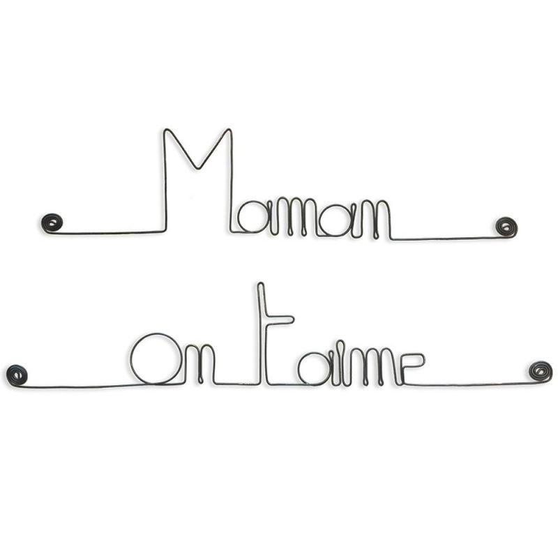 """Message simple en fil de fer """" Maman on t'aime """" - à punaiser - Bijoux de mur"""