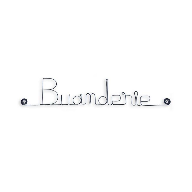 """Message simple en fil de fer """" Buanderie """" - à punaiser - Bijoux de mur"""