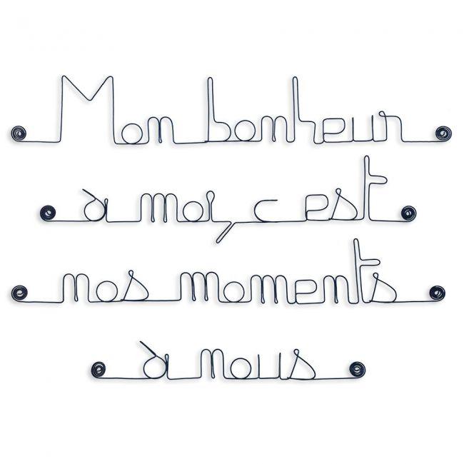 """Citation en fil de fer """" Mon bonheur à moi, c'est nos moments à nous """" - à punaiser - Bijoux de mur"""