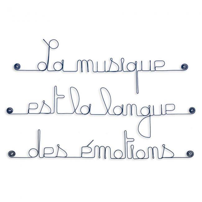"""Citation en fil de fer """" La musique est la langue des émotions """" - à punaiser - Bijoux de mur"""