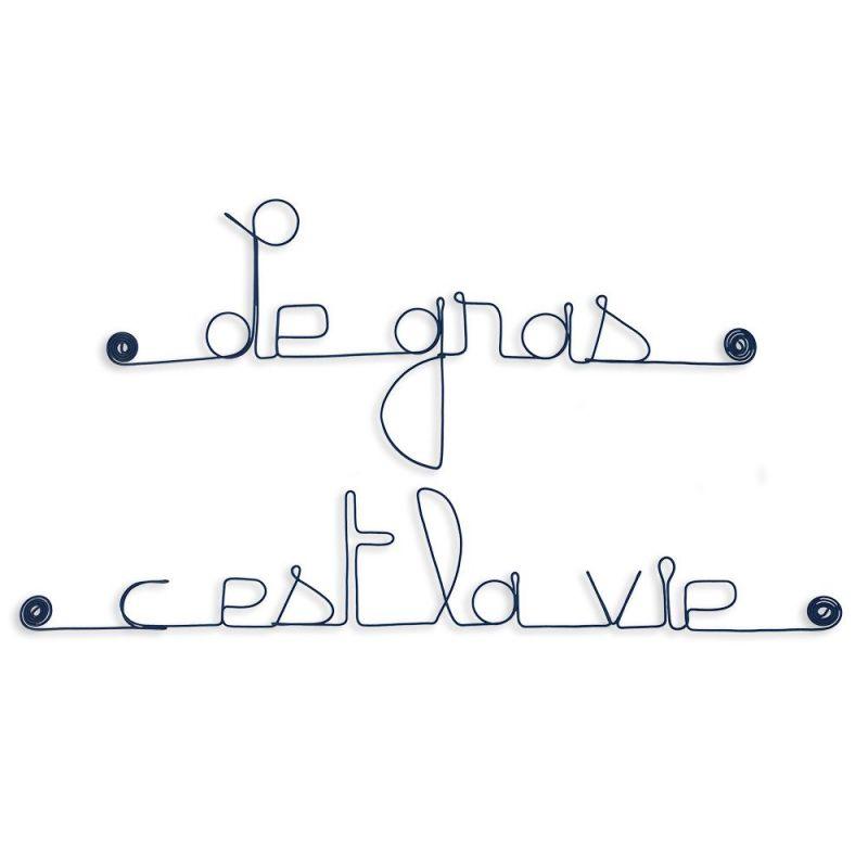 """Citation en fil de fer """" Le gras, c'est la vie """" - à punaiser - Bijoux de mur"""