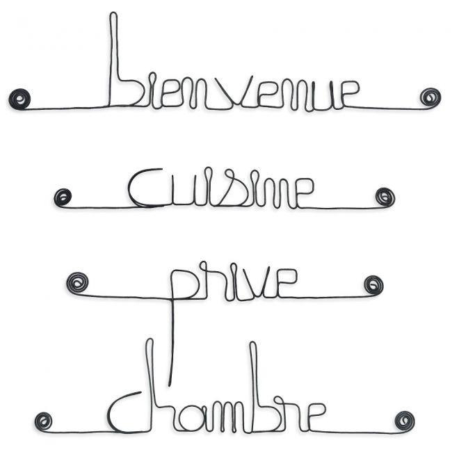 """Lot de petits messages """" MAISON : Bienvenue, Chambre, Cuisine, Privé """" en fil de fer - à punaiser - Bijoux de mur"""
