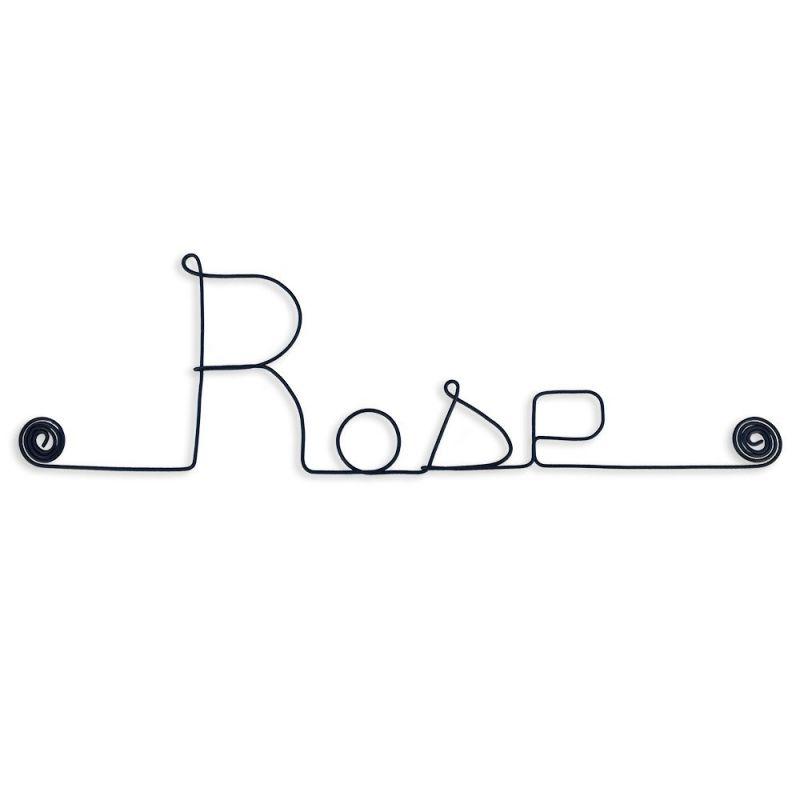 "Prénom en fil de fer "" Rose "" - à punaiser - Bijoux de mur"
