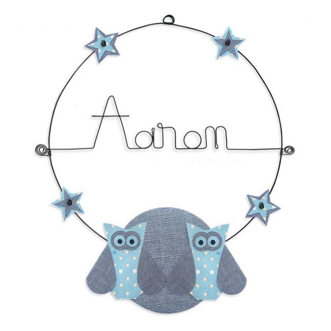 """Prénom en fil de fer """" Aaron """" coloré - Chouette bleue - à punaiser - Bijoux de mur"""