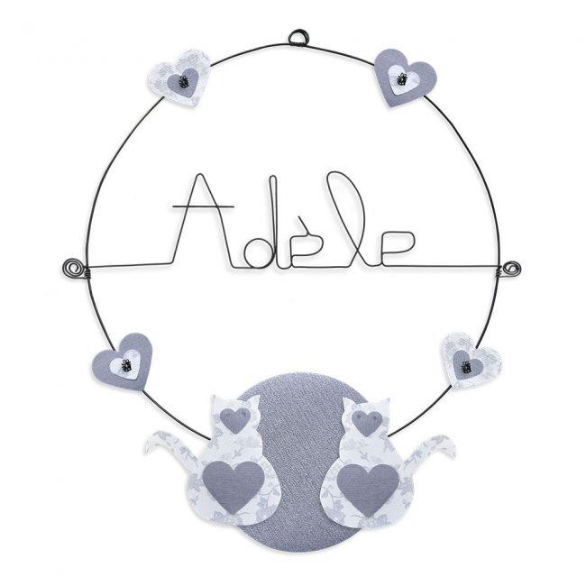 """Prénom en fil de fer """" Adèle """" coloré - Chat blanc - à punaiser - Bijoux de mur"""