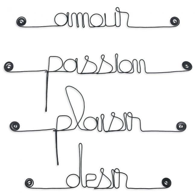 """Lot de petits messages """" AMOUR : Amour, Désir, Passion, Plaisir """" en fil de fer - à punaiser - Bijoux de mur"""