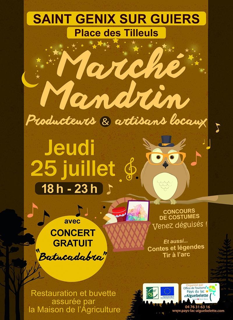 Affiche du marché mandrin de Saint Genix sur Guiers en 2019